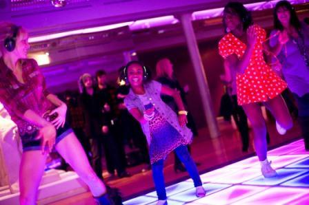 Girls enjoying dancing next to the sculptures at TATE Liverpool
