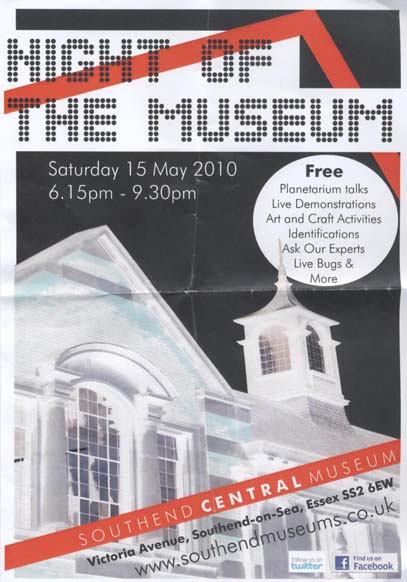 A publicity flyer showing the negative of a photo of a museum