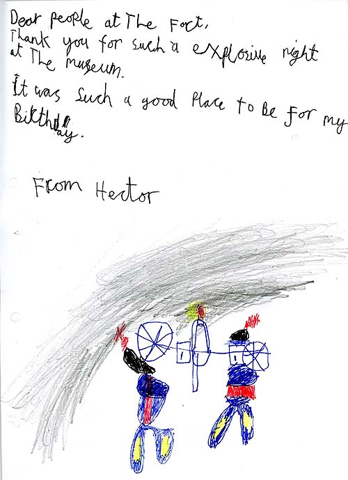 An illustrated hand written thank you letter from a child