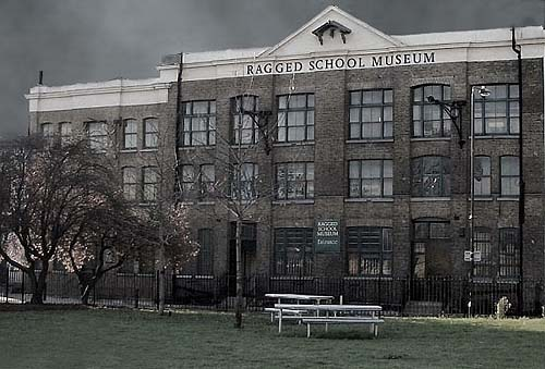 An ominous photograph of the exterior of the Ragged School Museum