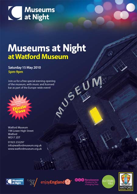 A poster advertising Watford Museum's Museums at Night event