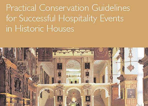 A photo of a booklet about hospitality events in historic houses