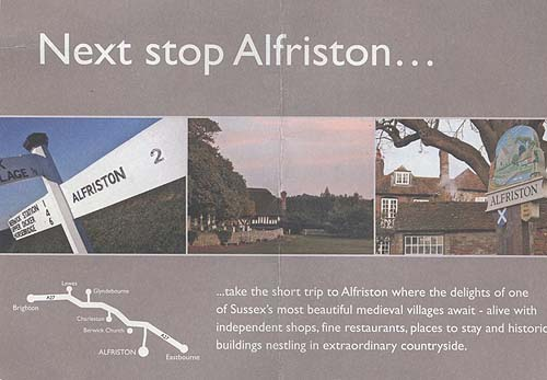 A promotional flyer saying Next Stop Alfriston