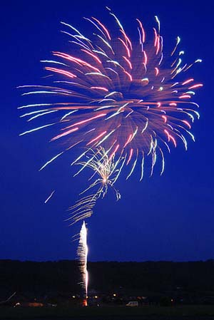 A photo of fireworks in the night sky