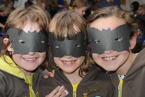 Three Brownies in spooky masks