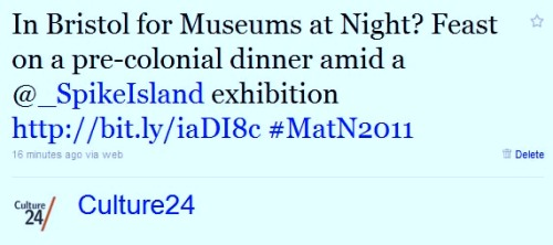 A Culture24 tweet about a Museums at Night event linking to Spike Island