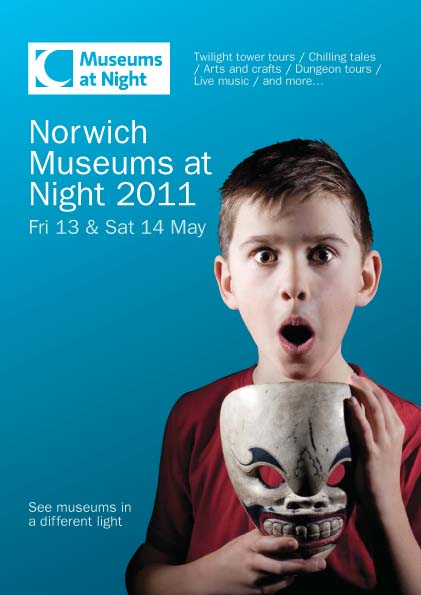 The front page of a flyer promoting Museums at Night events in Norwich, with a picture of a boy holding a mask