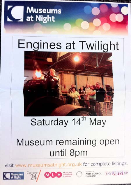 A colourful Museums at Night poster from Anson Engline Museum
