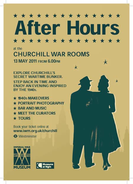 A poster advertising the Churchill War Rooms Museums at Night event
