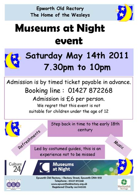 A poster advertising Epworth Old Rectory's Museums at Night event
