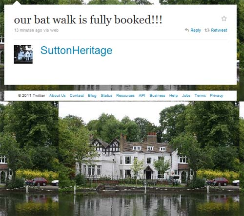 A Twitter update from Sutton Heritage