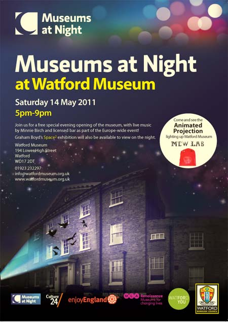 A poster advertising Museums at Night at Watford Museum