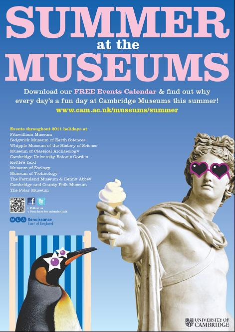A poster featuring a sunglasses-wearing sculpture and penguin eating icecream