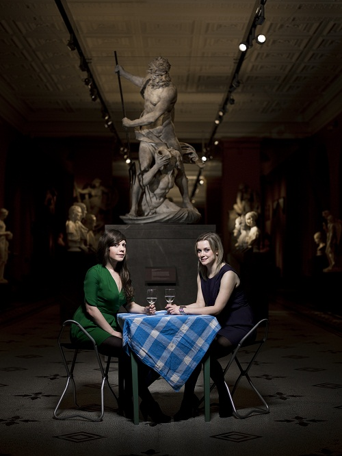 two girls dining in museum