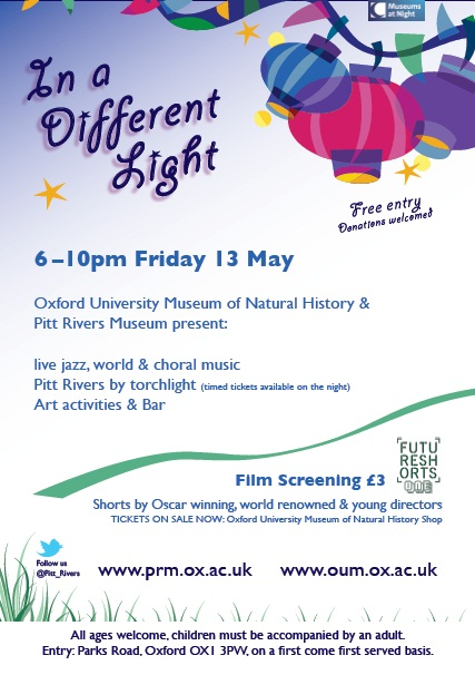 A flyer advertising an evening event, with bright lanterns on a pastel background