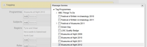 A screenshot from Culture24's DDE database showing how to tick the Museums at Night Programmes box