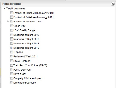 A form showing a list of programmes, with Museums at Night 2012 ticked