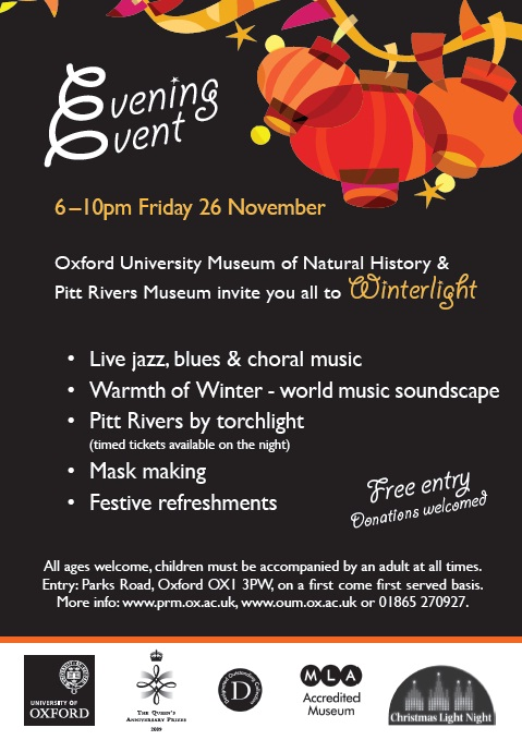 A flyer for an evening event with orange lanterns on a black background