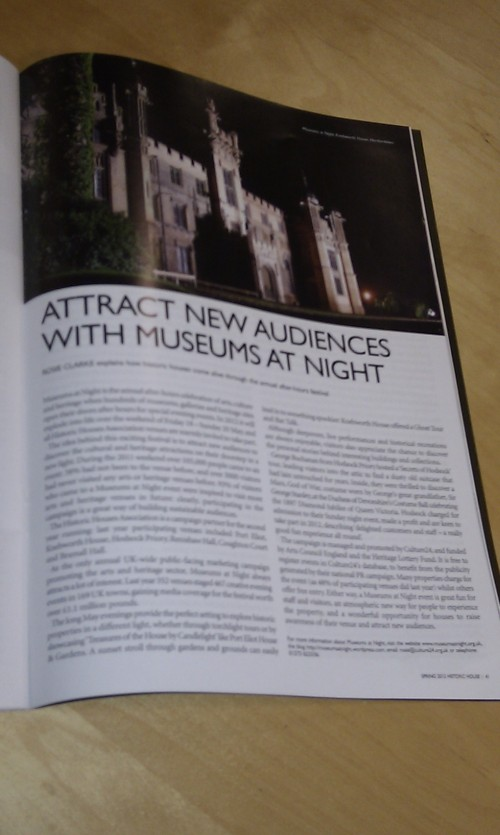 A magazine page with an article about Museums at Night