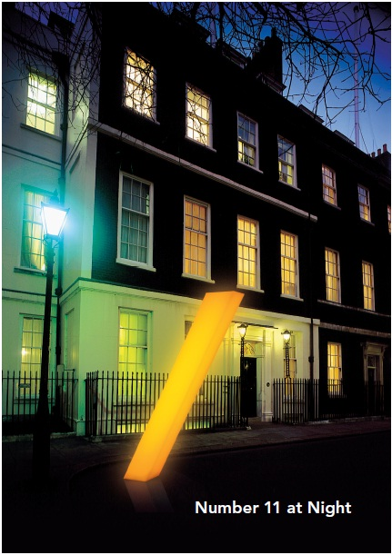 A street of buildings with a glowing slash outside