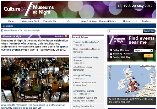 A screenshot of the Museums at Night website showing an event search widget and a Google map