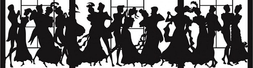 Silhouettes of Victorians dancing