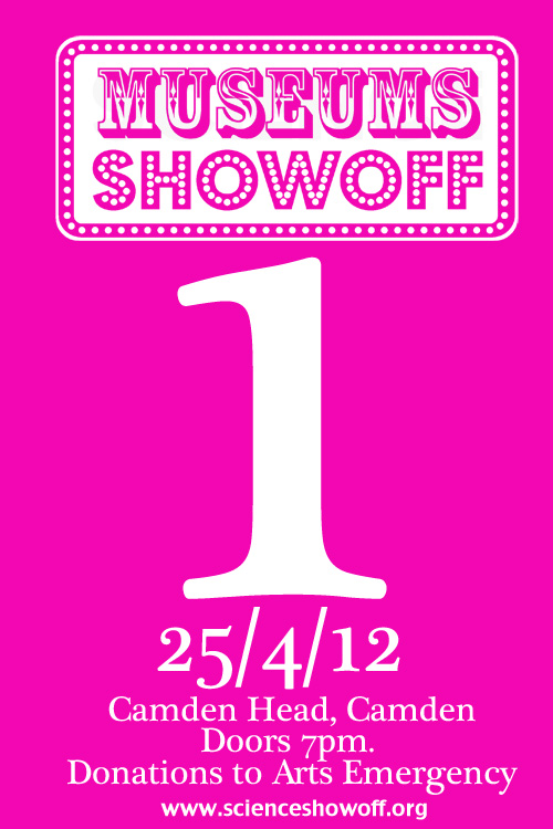 A magenta poster advertising the first ever Museums Showoff