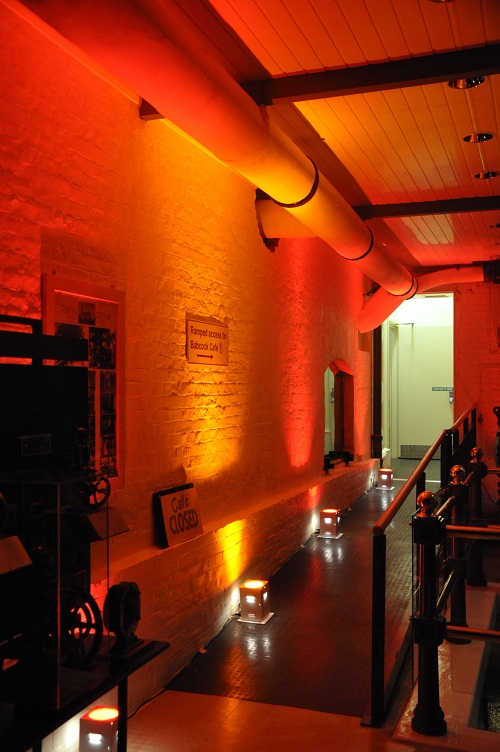 A corridor illuminated with red light