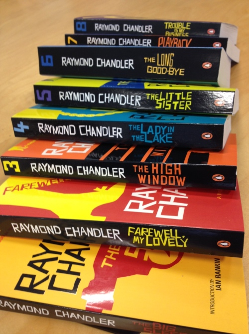 A stack of Raymond Chandler novels