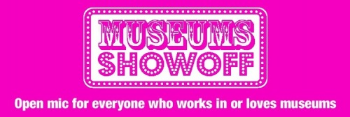 Magenta logo of Museums showoff, open mic for everyone who works in or loves museums