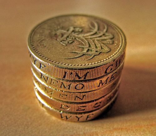 A stack of pound coins spelling out the word MONEY