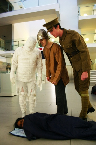 A mummy, a Viking and a World War I soldier loom over a museum sleepover