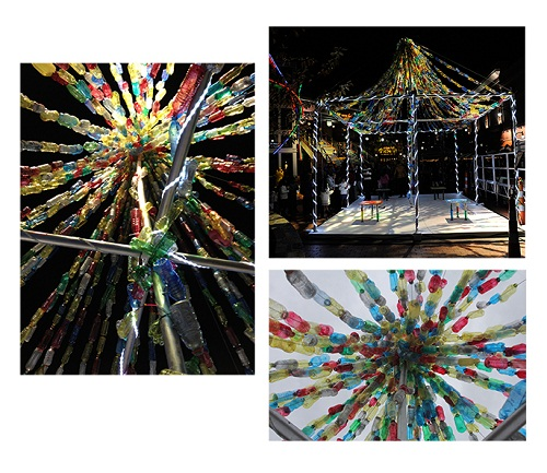 3 different angles on an art installation made of colourful plastic bottles