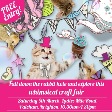 craft fair flyer design featuring a kitten in a hat