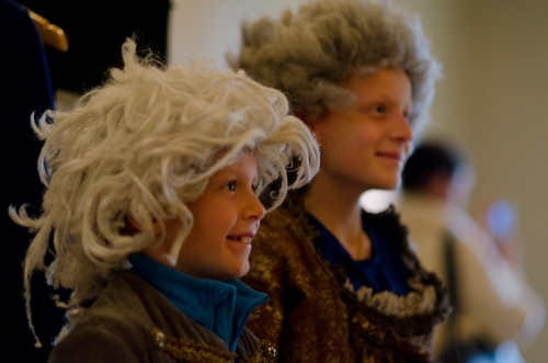 Children in historic costume and wigs