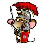 A cartoon mouse dressed as a Roman soldier