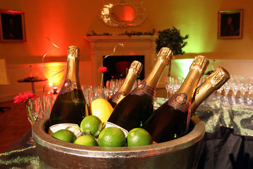 A basket of champagne bottles
