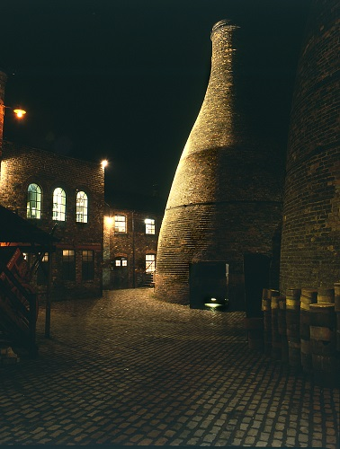 Brickwork buildings at night.