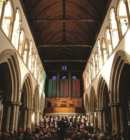 A concert taking place inside a cathedral