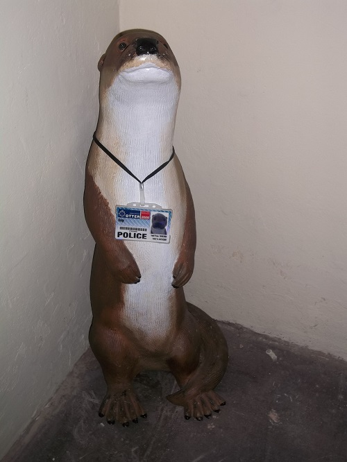 A statue of an otter.