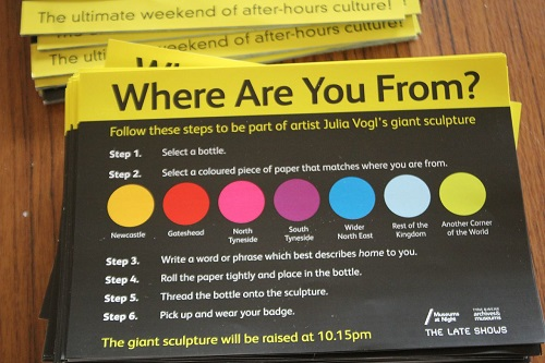 A flyer containing instructions for participating in an art event