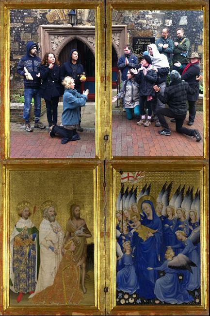 a group of people recreating a religious painting