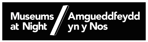 Bilingual Museums at Night logo white on black