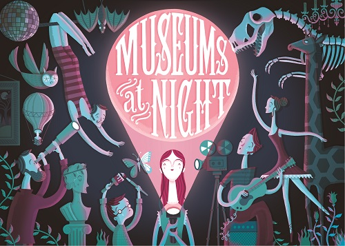 A colourful design showing museum objects coming to life around a girl with a torch