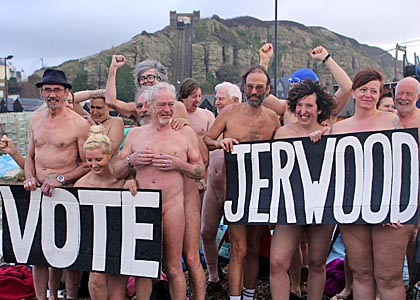 Nude flashmob on Hastings Beach, image courtesy Ciaran McCrickard / Connors