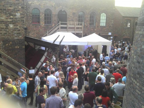 Crowds gather on the cobbles for beer festival as part of the inaugural Gladstone Gig, December 2013