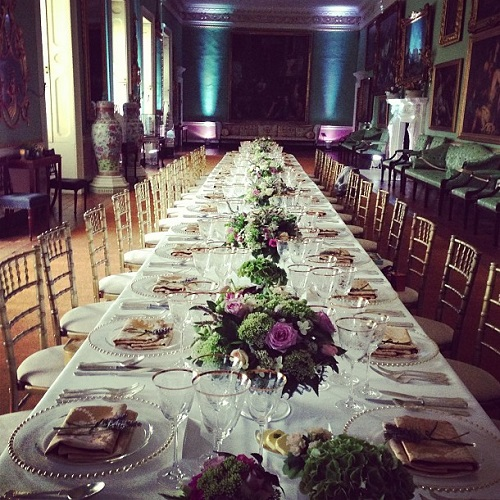 a sumptuous dining table in a stately home