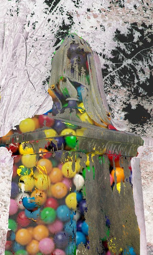 Reworked version of grave ornament containing colourful gumballs.