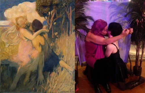 a couple recreate a painting of a kiss