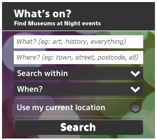 The Museums at Night event search widget